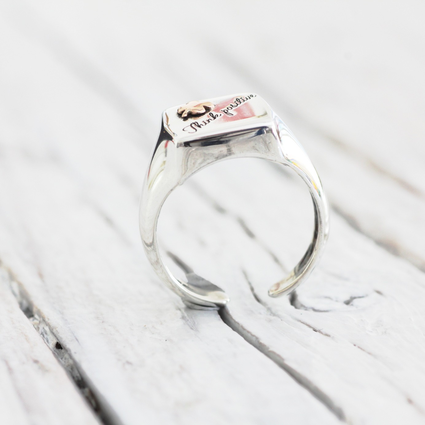 Symbol - anello in argento e oro 18 carati