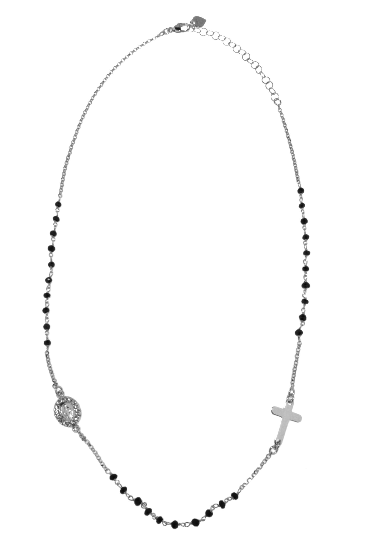 collana a rosario con pietre nere (Bianco)