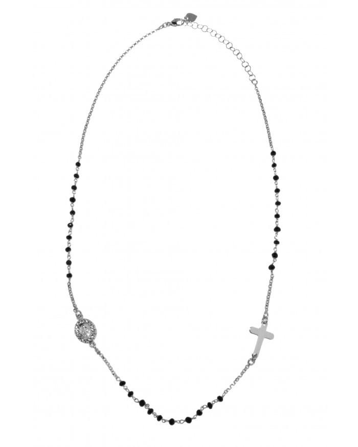 collana a rosario con pietre nere