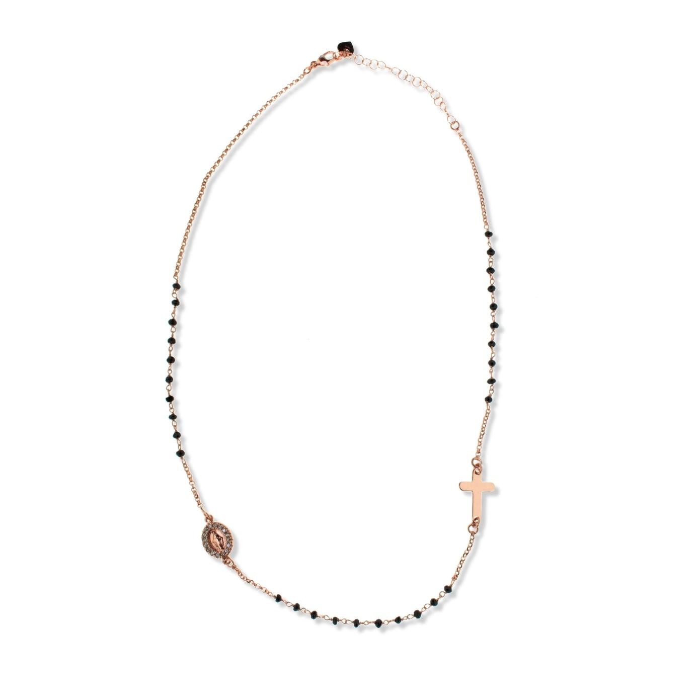 Popolare collana a rosario con pietre nere (rosa) | Gioiello Mia Gioia OE78