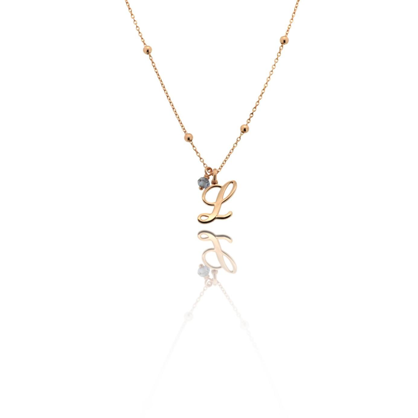Jole - Girocollo in argento con piccola iniziale in rosa