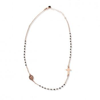 collana a rosario con pietre nere (rosa)