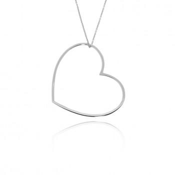 Amour - collana con cuore grande (bianco)