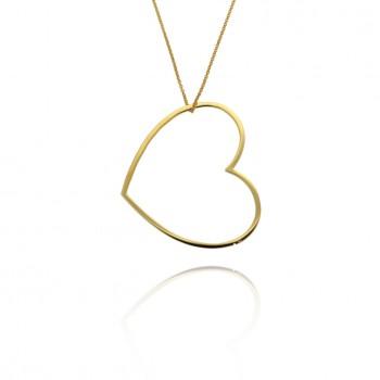 Amour - collana con cuore grande (giallo)