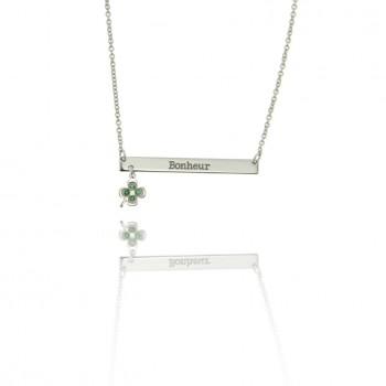 Mantra - collana personalizzabile con quadrifoglio (bianco)