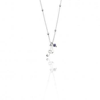 Jole - Girocollo in argento con piccola iniziale in bianco