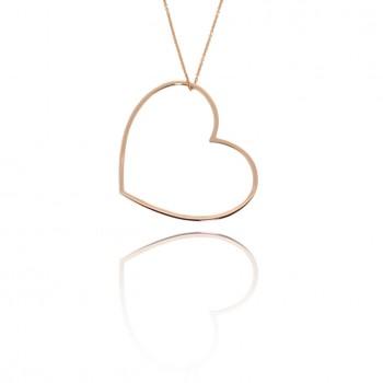Amour - collana con cuore grande (rosa)